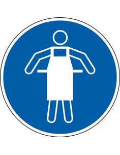 pictogram veiligheidsschort verplicht, blauw wit, rond, ISO 7010, M026