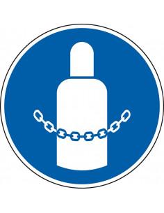 pictogram gasfles beveiligen, blauw wit, rond, ISO 7010, M046