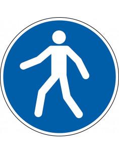 pictogram voetpad verplicht, blauw wit, rond