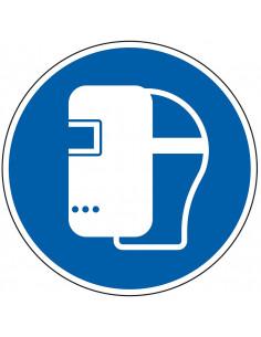 pictogram lasmasker verplicht, blauw wit, rond, ISO 7010, M019