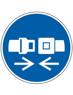 pictogram veiligheidsgordel verplicht, blauw wit, rond, ISO 7010, M020