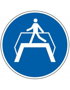 pictogram brug gebruiken, blauw wit, rond