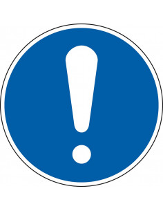 pictogram algemene gebodsteken, blauw wit, rond, ISO 7010, M001