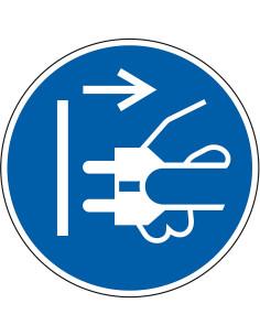 Stekker uit stopcontact trekken sticker, ISO 7010, M006, blauw wit, pictogram stekker uit stopcontact, rond