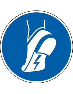 pictogram antistatische schoen verplicht, blauw wit, rond, ISO 7010, M032