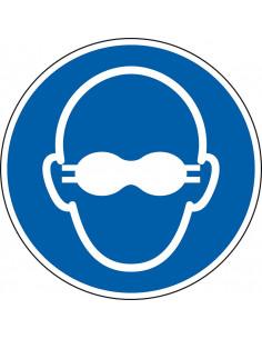 Ondoorzichtige bril verplicht sticker, ISO 7010, M007, blauw wit, pictogram ondoorzichtige bril verplicht, rond