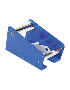 Tafel-Etikettendispenser met 1 rolnteiler, blauw, staal, breedte 112,5 mm