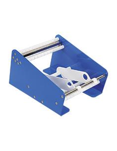 Tafel-Etikettendispenser met 2 rolnteilern, blauw, staal, breedte 162,5 mm