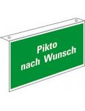 Evacuatiepictogram blanco (haaks bord), voor plafondmontage, kunststof, 400 x 300 mm