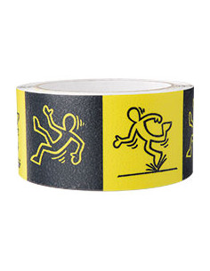 Antislipband met struikelend mannetje,antislip R9,zwart/geel,pvc,50 mm,5m/rol
