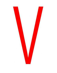 Letter 'V' sticker rood 70 mm