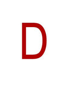 Mini picto 'D' wit/rood 14 x 19 mm 54stuks/vel