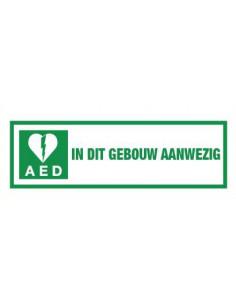 Tekststicker 'AED in dit gebouw aanwezig' 300 x 100 mm, wit/groen