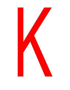 Letter 'K' sticker rood 70 mm