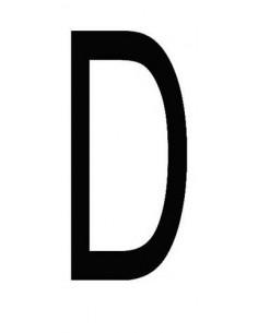 Letter 'D' sticker zwart 70 mm