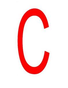 Letter 'C' sticker rood 70 mm