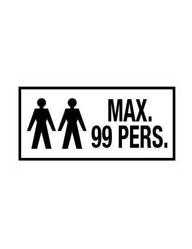Bord met tekst 'Maximaal 99 personen' kunststof 200 x 100 mm