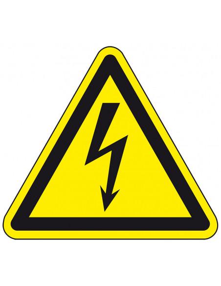 Waarschuwingssticker elektrische spanning, W012, geel zwart, ISO 7010, elektriciteit symbool, bliksem, driehoek