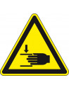Waarschuwingssticker handbeklemming, W024, geel zwart, ISO 7010, hand beklemd symbool, driehoek