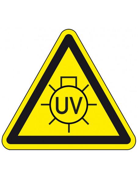 Waarschuwingsticker UV licht, geel zwart, uv licht lamp symbool, driehoek