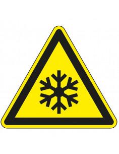 Waarschuwingssticker vorst, W010, geel zwart, ISO 7010, sneeuw symbool, driehoek