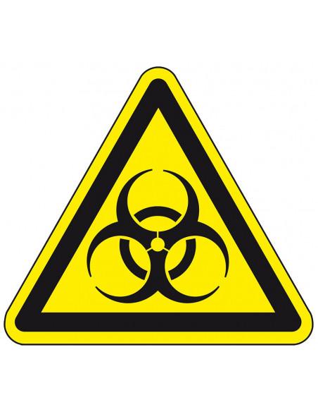 Biologisch gevaar sticker, W009, geel zwart, ISO 7010, biologisch gevaar symbool, driehoek