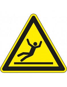 Waarschuwingssticker uitglijden, W011, geel zwart, ISO 7010, symbool glad oppervlak, driehoek