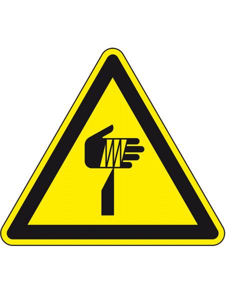 Waarschuwingssticker scherpe punten, W022, geel zwart, ISO 7010, scherpe punt symbool, driehoek