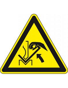 Waarschuwingssticker hand werkstuk, W031, geel zwart, ISO 7010, hand tussen werkstuk symbool, driehoek