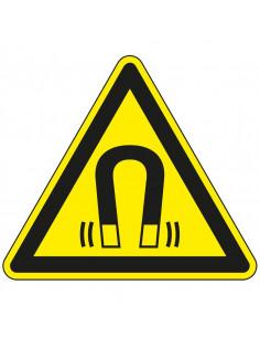 Waarschuwingssticker magnetisch veld, W006, geel zwart, ISO 7010, magneet symbool, driehoek