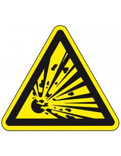 Pictogram explosieve stoffen, W002, geel zwart, ISO 7010, explosie, driehoek