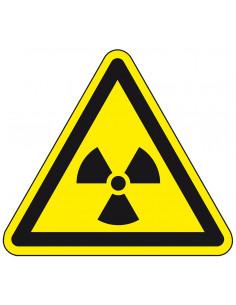 Pictogram radioactief, W003, geel zwart, ISO 7010, radioactief symbool, driehoek