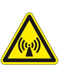 Waarschuwingssticker niet ioniserende straling, W005, geel zwart, ISO 7010, niet ioniserend symbool, driehoek
