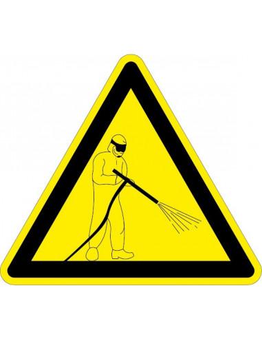 Waarschuwingssticker hogedrukspuit, geel zwart, hogedrukspuit symbool, driehoek