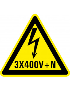 Waarschuwingssticker elektrische spanning 3x400v+N, geel zwart, tekst 3x400v+N met bliksem symbool, driehoek