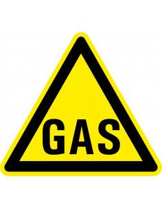 Waarschuwingssticker gas, geel zwart, tekst gas, driehoek