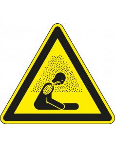 Sticker verstikkingsgevaar, W041, geel zwart, ISO 7010, verstikkingsgevaar symbool, driehoek