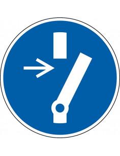 pictogram onderhoud of reparatie vrijhouden, blauw wit, rond, ISO 7010, M021