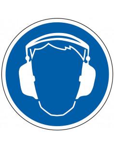 Oorkap verplicht sticker, blauw wit, pictogram gehoorbescherming, rond