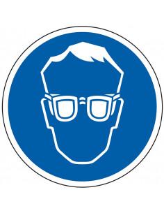 Veiligheidsbril verplicht sticker, blauw wit, pictogram veiligheidsbril, rond