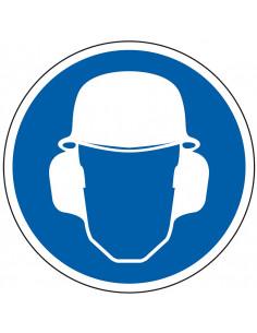 Helm en oorkap verplicht sticker, blauw wit, pictogram helm en oorkap, rond