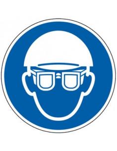 Hoofd en oogbescherming verplicht sticker, ISO 7010, blauw wit, pictogram hoofd en oogbescherming, rond