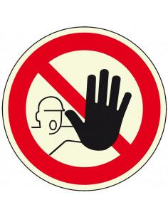 Lichtgevende verboden toegang voor onbevoegden sticker, 200 mm, pictogram verboden toegang, rond, ISO 7010