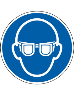 Oogbescherming verplicht bord, aluminium, 200 mm, M004, blauw wit, pictogram oogbescherming en bril, rond, ISO 7010