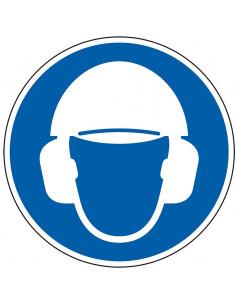 Hoofd en gehoorbescherming verplicht bord, aluminium, ISO 7010, blauw wit, pictogram hoofd en gehoorbescherming, rond