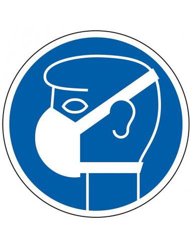 Gebodspictogram lichte ademhalingsbescherming dragen, kunststof, Ø 200 mm