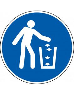 pictogram afvalbak gebruiken, blauw wit, rond