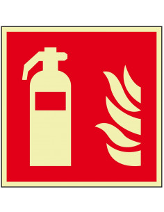 Lichtgevend brandblusser bord, kunststof, F001, rood wit, pictogram brandblusser, vierkant, ISO 7010