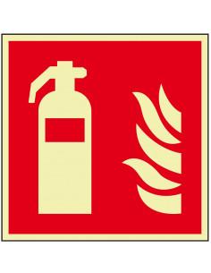 Lichtgevend brandblusser bord, aluminium, F001, rood wit, pictogram brandblusser, vierkant, ISO 7010