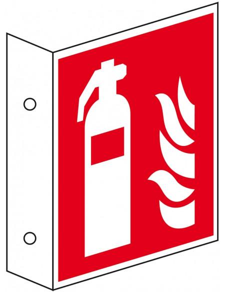 Haaks brandblusser bord, kunststof, F001, rood wit, pictogram brandblusser, vierkant
